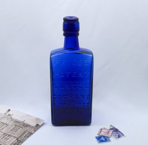 Rare cobalt blue Price's Patent Candle Company bottle with stopper, Victorian wedge shaped bottle, collectable chemist, pharmacy bottle