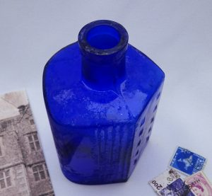 "Antique BDH hobnail cobalt Lysol bottle 4.5"" poison bottle, curved back, triangular front, ribbed sides, British Drug Houses chemists KU-17"