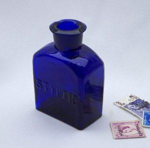 Victorian Ruspini's Styptic cobalt bottle, 1860's, 3 in dark cobalt blue medicine bottle, apothecary, chemist, doctor's, surgical, pharmacy