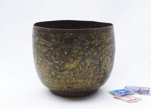Antique Indian brass pot, small plant pot, 19th century Indian brass bowl, engraved brass pot, trinket pot, small brass planter, pot holder