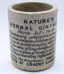 Antique Nature's Herbal Ointment pot, Fred W Hale, 61 Chandos St, Covent Garden, London. Cure all pot, quack cure stoneware jar, apothecary