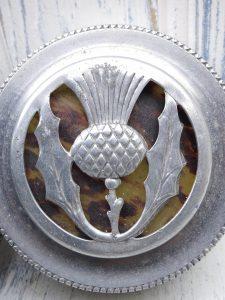 Vintage aluminium canister, NCJ Ltd, Stratford-on-Avon, with thistle pattern & faux tortoisehell in top, hammered aluminium tin, tea caddy