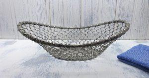 Vintage French wire bread basket, silver coloured wire food storage basket. Fruit basket, vegetable storage, egg, apple, potato basket, trug