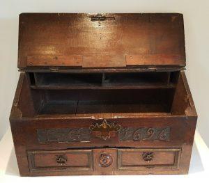 Antique carved oak desk box 17th century, rare dated 1696 William III PROVENANCE