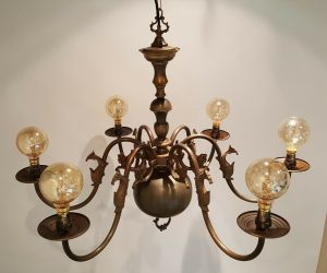 Large brass 6 branch chandelier, possibly French, decorative & rewired antique