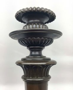 Pair of 19th Century French bronze candlesticks of fine quality and colour 12""