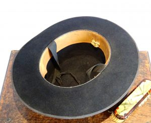 Vintage Spanish riding hat, black felt hat, with ribbon, Fedora, 1950's Andalusian hat. Fancy dress, theatre prop, vintage hat made in Spain