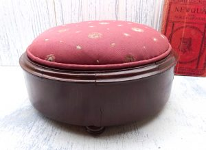 Victorian mahogany footstool, antique low upholstered foot stool, pale red fabric with cream pattern. Period home decor, antique furniture