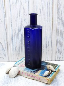Antique cobalt blue poison hexagonal bottle, large ribbed Not To Be Taken bottle. Victorian apothecary bottle. Collectible bottle, 10 ounce