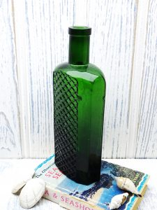 Antique green poison bottle, latticed front, oval quilted diamond bottle, chamfered corners, chemist, pharmacy bottle, large, 8 inches tall