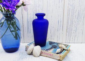 Vintage cobalt blue frosted glass vase, matt blue glass bud vase, small flower vase, Grecian style vase, flower arranging vase, gift idea