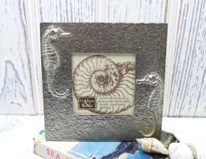 Vintage pewter photo frame by Glover & Smith, seahorse design, lead free pewter, made in England takes photo 3 x 3 inches, coastal decor