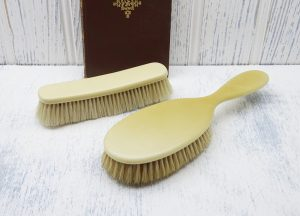 Antique celluloid hair brush & clothes brush, natural bristles. Vanity, laundry brush, clothing brush, pet brush, Keystone French Ivory