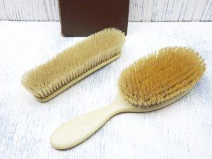 Antique celluloid hair brush & clothes brush, natural bristles. Vanity, laundry brush, clothing brush, pet brush, Keystone French Ivory