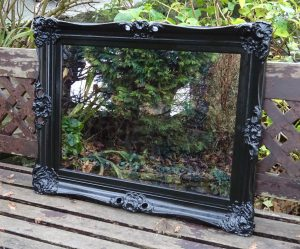 Pair decorative ebonised mirrors, antique frames with antique style mirror glass