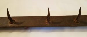 Long French vintage iron hook rack butchers meat / coat pegs or hooks