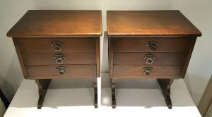 Vintage rare solid oak pair of Arts & Crafts style bedside cabinets with three drawers, bedside tables, oak bedside drawer units, bedroom