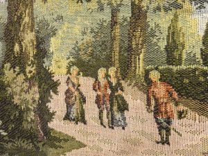Antique tapestry, 18th century style tapestry, machine made, 170x75 cm wall hanging. Depicting country house, gentry, formal garden, trees.