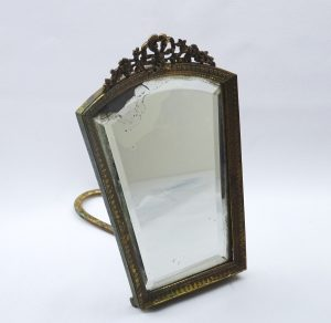 Victorian gilt mirror, small dressing table mirror, gilt brass and bevelled glass, freestanding ormolu mirror with bow and floral motifs
