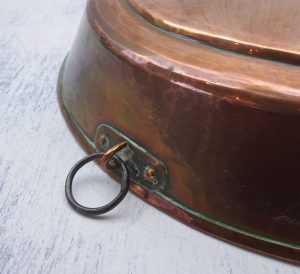 Antique copper pan with pouring spout. 19th century hammered copper kitchen utensil, hanging ring. Grain scoop, shop measure, kitchenalia