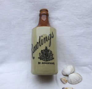 Victorian Rawlings Ginger Beer bottle, By Appointment, stoneware ginger beer bottle. Stamped Bourne 24 Denby, antique stoneware bottle