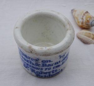 Victorian Poor Man's Friend ointment pot, Prepared by Beach & Barnicott successors to the late Dr Roberts, Bridport. Apothecary, cure all