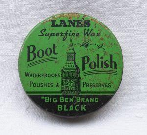 Vintage tin Lane's Boot Polish, Big Ben Brand, Economy War-time Pack, Superfine Wax, WWII militaria, WW2 servicemen's black shoe polish