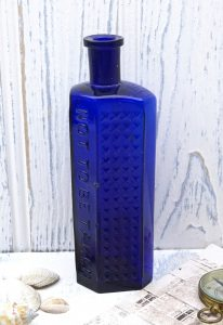 Victorian 8 oz cobalt Not To Be Taken hobnail poison bottle, Practical Poison Bottle, flat back hexagon, Design no 334871, Morgan's Type 2