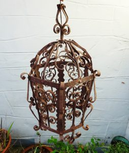 Antique French wrought iron lantern, rusty iron, scrolled metal lantern, shabby chic. Decorative lantern, interior design piece