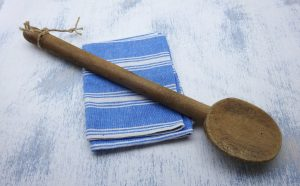 Antique French wooden butter spoon, long handled butter paddle, large wood mixing spoon, French kitchenalia, cooking utensil, butter making