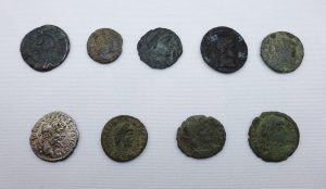 Roman Coins ~ 9 Roman coins Constantine II, Valerian II, Valentinian I, including 4 unresearched. Antiquities, collectable coins, numismatic