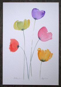 Watercolour painting COLOURFUL POPPIES original art by artist Amanda Hawkins 17 x 26cm unframed unmounted. Garden flowers, floral, poppy art