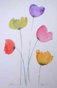 Watercolour painting COLOURFUL POPPIES original art by artist Amanda Hawkins 17 x 26cm unframed unmounted. Garden flowers, floral, poppy art