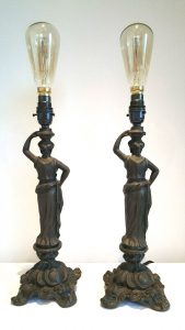 Vintage table lamps, pair of bronze effect Grecian style table lamps, rewired throughout. Antique style bulbs, classical ladies with urns