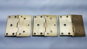 Antique brass hinges x 3, three large front face surface mounted hinges, high quality heavy door hinges, salvaged door fittings, furniture