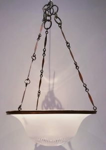 Edwardian copper & glass hanging plafonnier pendant light fitting, antique cut glass light shade, white frosted glass shade, interior design