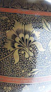Antique Indian large brass enamelled alms bowl ~ kamandalu ~ decorative handle ~ spitoon shaped bowl ~ Asian antiques ~ decorator's piece