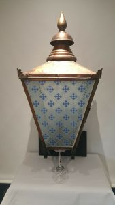 Victorian Gothic copper lantern fully refurbished, Pugin style glass, blue, frosted and clear glass panels, large outdoor electric lantern