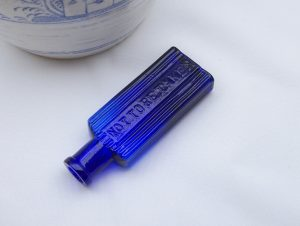Antique small cobalt blue poison bottle, rectangular Not To Be Taken ribbed bottle. 1/2 ounce? Scarce Victorian chemist, apothecary bottle