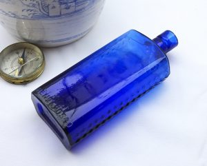 Victorian cobalt hobnail Lewis & Towers 4 oz flask poison bottle, embossed Poisonous Not To Be Taken. Chemist apothecary bottle, 12.9cm tall