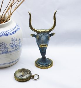 Vintage Greek Minoan brass bull's head paperweight, ornament, figurine, statuette, blue green verdigris patina, Cretan bull, Minotaur head