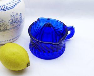 Vintage blue glass lemon juicer, lemon squeezer, citrus fruit reamer, kitchenalia, kitchen utensil, cooking gadget, baking, kitchen decor