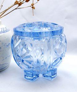 Antique Art Deco pale blue cut glass flower frog bowl 6 hole posy vase, floristry supplies, wedding table, flower arranging, wedding flowers
