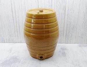 Victorian stoneware barrel, C & J R Price Bristol honey glazed 1 gallon, keg, beer barrel, lamp base, antique pottery barrel, bar pub decor