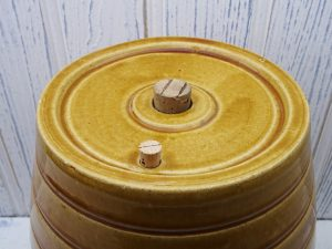 Victorian stoneware barrel, C & J R Price Bristol honey glazed 1 gallon, keg, beer barrel, lamp base, antique pottery barrel, bar pub decor