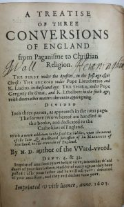 Antiquarian book ~ 1603 First Edition Treatise of three conversions of England by Robert Parsons. Very rare antique book, religious book