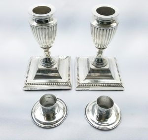 Victorian solid silver pair neoclassical urn-shaped candlesticks, James Deakin & Sons, 1897, Sheffield hallmarked sterling silver, dwarf
