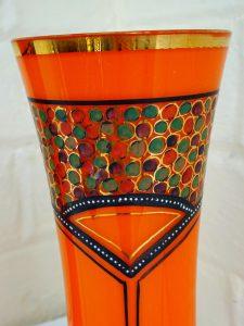 Vintage Art Deco Tango Vases, Pair Czech hand painted orange tango vases