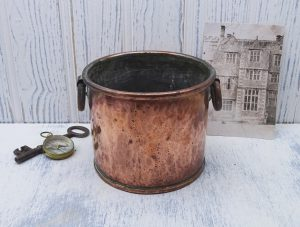 Antique copper pot with ring handles, 19th century dovetailed hammered copper pan, cooking utensil, plant pot holder