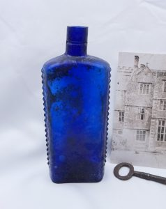 Victorian cobalt hobnail Lewis & Towers 12 oz flask poison bottle, embossed Poisonous Not To Be Taken. Shear top apothecary bottle 19cm tall